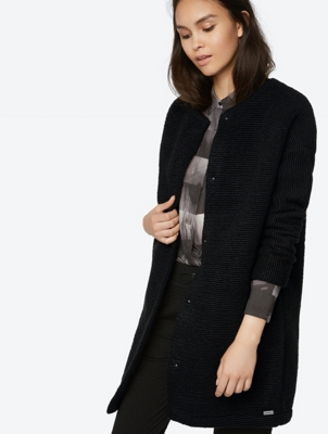 Long Wool Blend Jacket with Cosy Fleece Lining