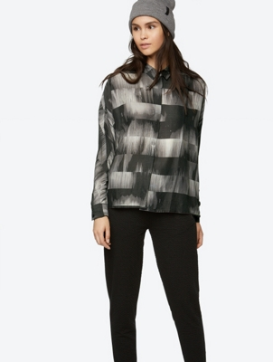 Oversized Long Sleeve Patterned Shirt