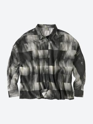 Oversized Long Sleeve Patterned Shirt