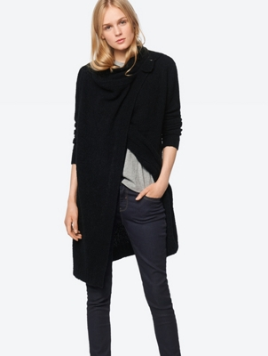 Plain Cardigan with Open Front