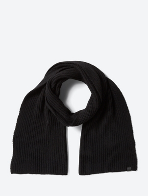 Ribbed Scarf with Logo Patch