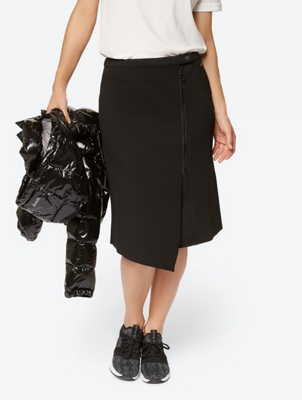 SWEAT SKIRT ASYMMETRIC ZIP