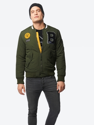 College-Style Jacket with Terry Badges