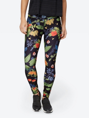 Colour Intensive Leggings with Floral Print