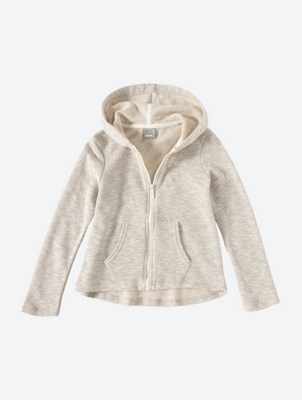 Melange Hooded Sweat Jacket with Flared Fit