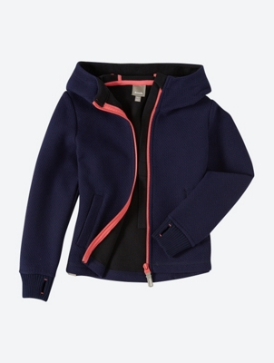 Bonded Hooded Jacket with Contrasting Coloured Zip