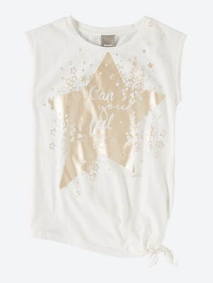 Top with Shiny Star Print