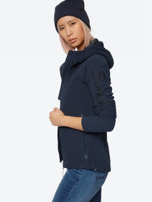Warm Fleece Hoodie with Honeycomb Structure