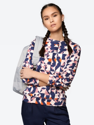 Gemustertes Sweatshirt mit Rundhalsausschnitt