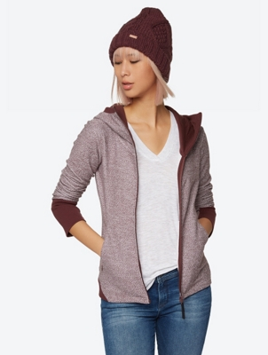 Mottled Hoodie Jacket with Standing Collar