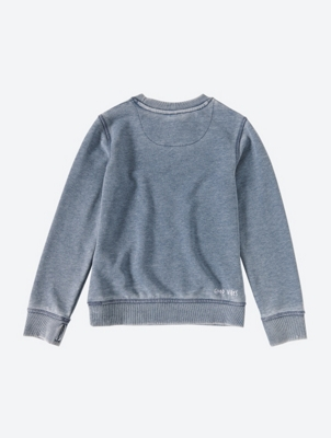 Washed Look Crew Neck Sweater with Chest Graphic