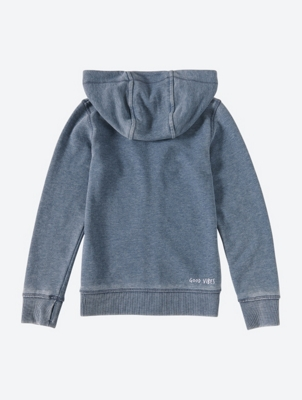 Washed Look Zip Through Hoodie