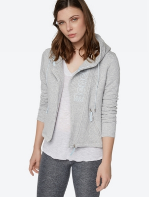 Quilted Hoodie Jacket with Asymmetric Zip