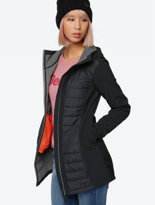 Plain Softshell Jacket with Quilted Sections