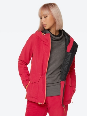 Waterproof Ski Jacket with Contrast Coloured Lining