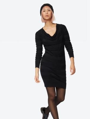 Fine Knit Dress with Shawl Collar
