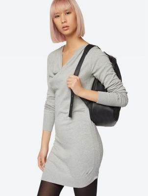Soft Knit Dress with Shawl Collar
