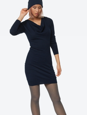 Fine Knit Dress with Asymmetrical Hem