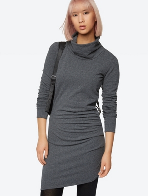 Melange Jersey Dress with Shawl Collar