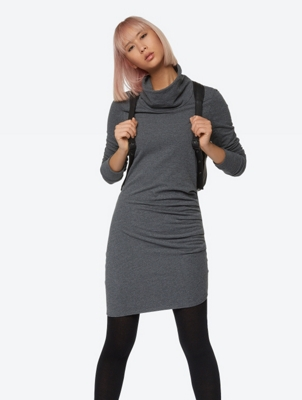 Marl Jersey Dress with Shawl Collar