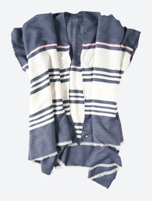 Striped Poncho with Fringed Edge