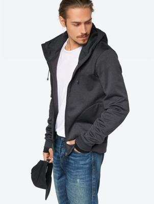 Melange Hooded Sweat Jacket with Darts