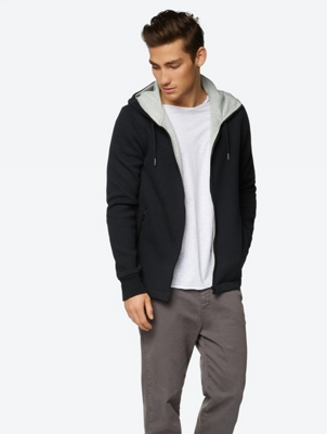 Fine Knit Hoodie with Zip
