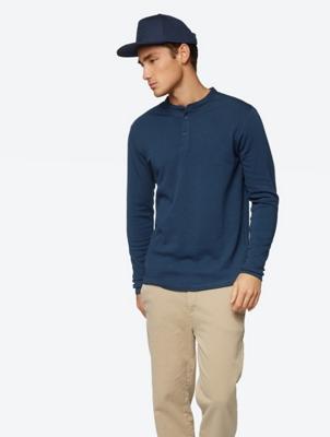 Plain Long Sleeve in Henley Style