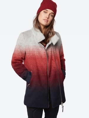 Kurzer Mantel in mehrfarbiger Filz-Optik