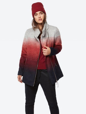 Short Coat in Multi-Coloured Felt Look