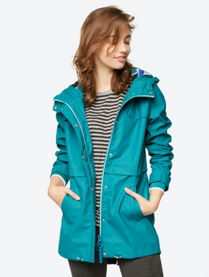 Plain Rain Jacket with Width-Adjustable Hood