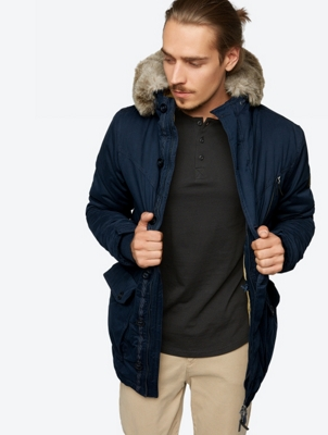 Lined Parka with Faux Fur Trim
