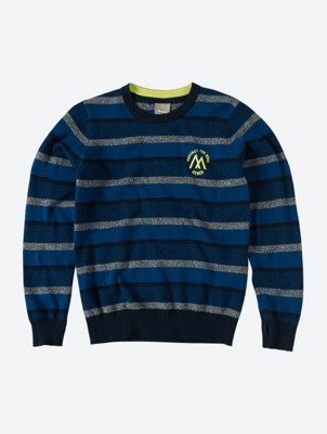 Striped Jumper with Neon Logo