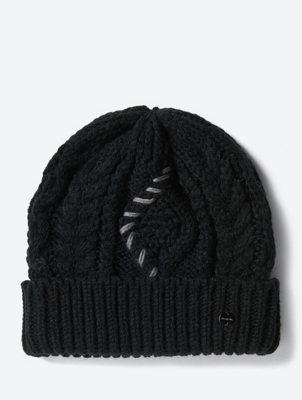 Chunky Knit Hat with Embroidery