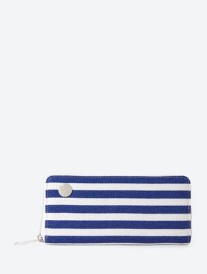 Striped Zip Around Wallet in Continental Format