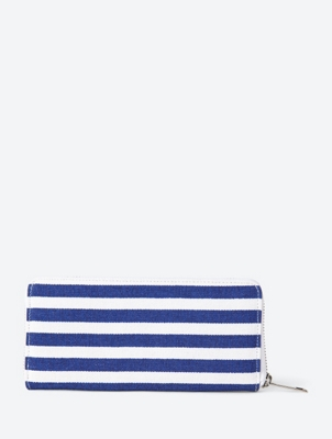 Striped Zip Around Wallet in Continental Format