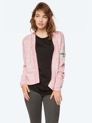 Mottled Cardigan with Open Front