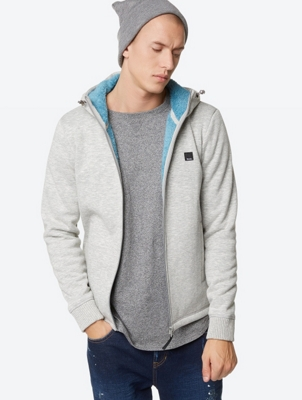 Marl Knit Fleece Jacket with Adjustable Hood