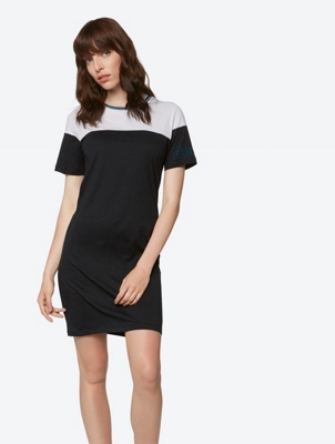 Two-Tone Jersey Dress with Round Neckline