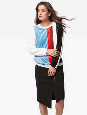 Multi-Coloured Long-Sleeve Top in Textured Blend