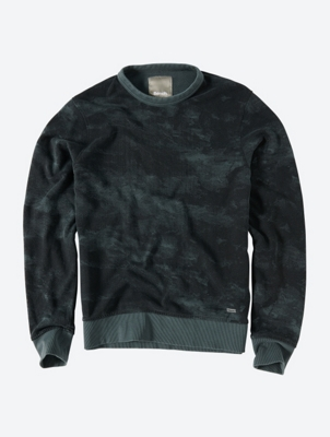 Muted Camo Print Crew Neck Sweater