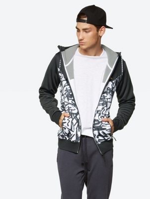 Graphic Print Hooded Jacket