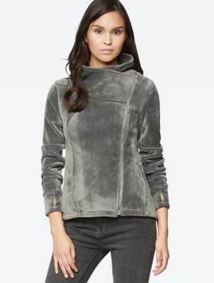 Fleece Jacket with Asymmetrical Zip