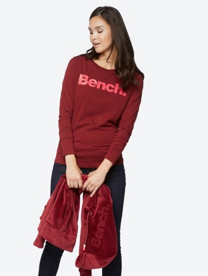 Long-Sleeve Top with Bench Print