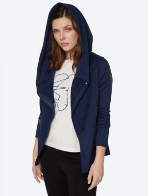 Hoodie Jacket with Asymmetrical Zip