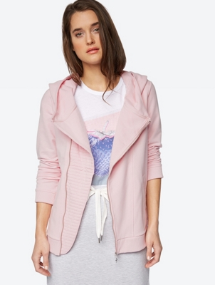 Soft Sweat Jacket with Asymmetrical Zip
