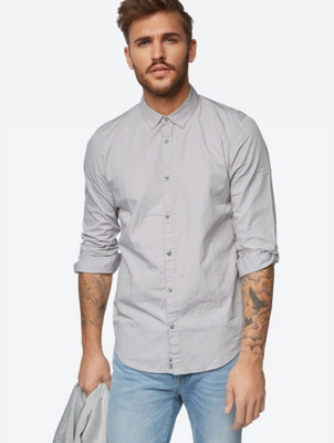 Plain Shirt with Crinkle Effect