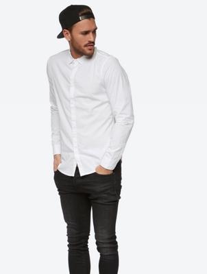Unifarbenes Hemd mit Crinkle-Effekt
