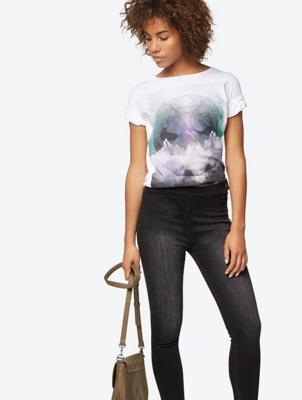 High-Waist Jeans mit seitlichem Reißverschluss
