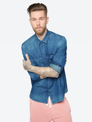 Denim Shirt with Patch Chest Pockets